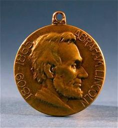 Antique Abraham Lincoln Commemorative Bronze Medal Watch Fob