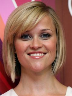 #hairstyles Reese Witherspoon short slightly angled bob with side swept bangs
