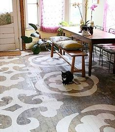 painted rug on concrete slab... yes yes yeeesss rug, home projects, painted wood floors, kitchen, diy home, concrete floors, porch, stencil, painted floors