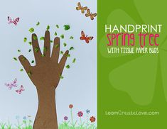 { Handprint Spring Tree Craft } from LearnCreateLove.com