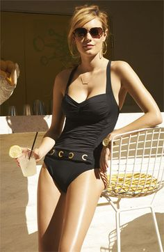 Black one-piece.