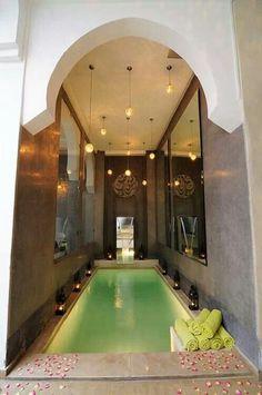 interior design, indoor pool, romantic places, marrakech riad, moroccan riad, moroccan style, bathroom, pools, spa
