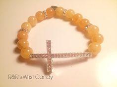 Peach Cross Beaded Bracelet by RandRsWristCandy on Etsy, $8.00