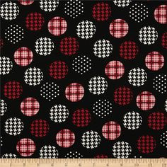 Spotlight Large Patterned Dots Red/Black from @fabricdotcom  This cotton print fabric is perfect for quilting, apparel and home decor accents. Colors include white, red and black.