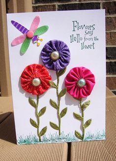 Fabric YoYo Flowers Any Occasion Card  Birthday  by CraftsByChar, $2.25