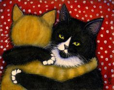 Charlie and Willy in The Hug; print by Heidi Shaulis