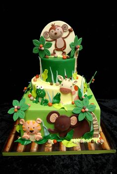 jungles, idea, baby shower cakes, animal cakes, jungl cake, babi shower, birthday cakes, baby showers, jungle cake