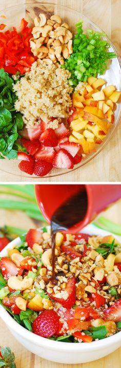 Strawberry, quinoa, spinach and cashew salad in a homemade honey-mustard balsamic vinegar dressing