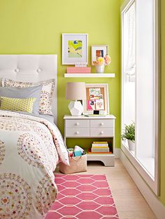 How to Decorate a Small Bedroom bedside table with drawers and shelves and a shelf above it = more storage space
