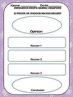Title opinion essay graphic organizer