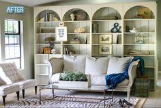 living rooms, beach houses, arches, bookcas, librari, wood shelves, beauty, design tips, basements