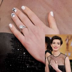 bebeauti beautyhand, manicur, red carpets, sag award, ann hathaway, nails, engag ring, engagement rings, anne hathaway