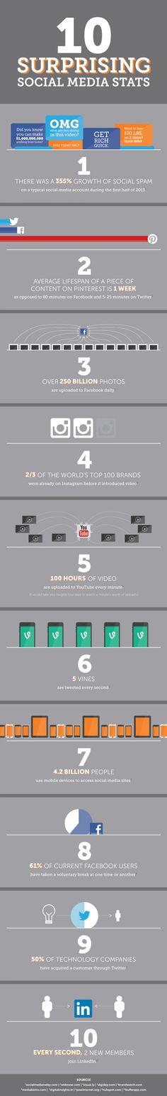 10 Surprising Social Media Statistics #Infographic #SMM