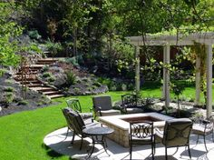 A sitting area around a fire pit would probably get more use than a table with chairs around it in my yard . .