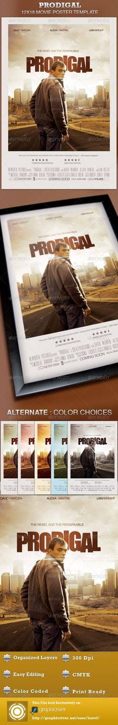 This Prodigal Movie Poster Template is sold exclusively on graphicriver, it can be used for your movie promotion, event marketing, church movie night, sermon marketing etc. In this package you'll find 1 Photoshop file. All text and graphics in the file are editable, color coded and simple to edit. The file also has 6 one-click color options. $6.00