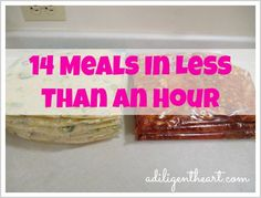 14 Freezer Meals In Less Than An Hour freezer meals, freeze meals for less, make and freeze meal plans, 14 meal