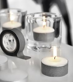 use decorative tape to decorate tea lights http://www.partysuppliesnow.com.au/