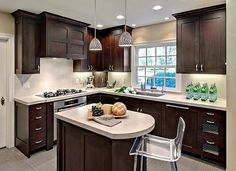 Small kitchen remodeling with modern dark brown and Caesarstone countertop