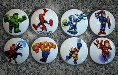 Set of 8 Handcrafted Super Hero Character Dresser Drawer  Knobs. $23.00, via Etsy.