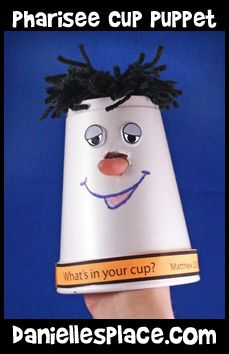 Pharisee Cup Puppet Bible Craft for Sunday School from www.daniellesplace.com
