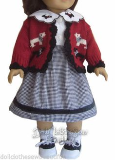 "Scotty Dog Skirt Sweater Blouse Made for 18"" American Girl Doll Clothes 