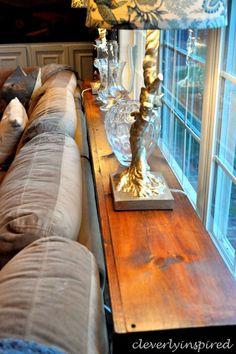 DIY sofa table @cleverlyinspired (11) Should make 2 to put behind sectional at Lake. COFFEE BAR TABLE!!!!!!!!!!