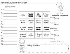 ... homework sheet that incorporates our weekly spelling list.... More