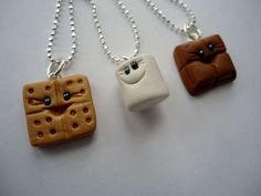 S'mores Buddies Best Friends Necklaces of Polymer Clay