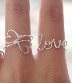 Wire Love Ring - Silver Wire, Adjustable Fit Most Size - Fabulous Wire