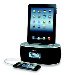 Wake, play and charge your iPad, iPhone and iPod all from this Dual Alarm FM Radio Clock. #MyDreamDorm