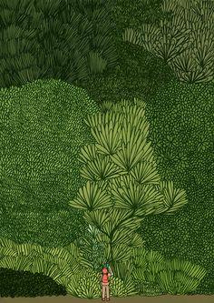 Jean Jullien tree, art journals, jeans, jean jullien, forest drawing, drawing of paths, jean julien, green illustration, leaf drawing