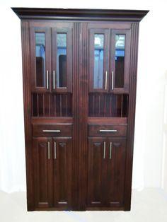 4' Murphy Door in cherry, including upper glass doors, plate rack and lower doors.