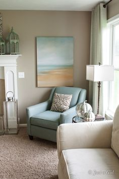 A neutral space is brought to life with accessories. chair, beach paintings, idea, color schemes, coastal colors, hous remodel, design