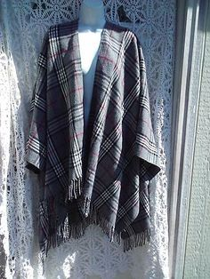 Covington Womans Plaid Wrap One Size Shawl Gray Black Cream Red Warm Outer Layer | eBay