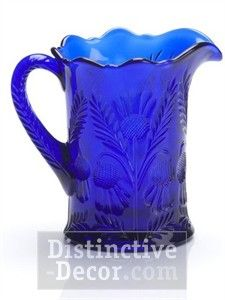 Mosser Glass Thistle Pitcher - Cobalt Blue