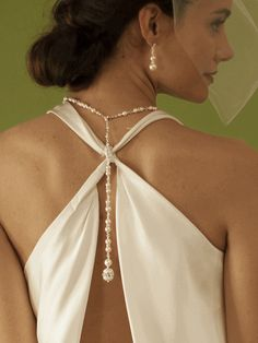 Ivory Pearl & Crystal Long Back Necklaces for Bridal, Bridesmaids & Prom  $79.99