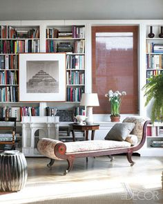 Michael S Smith's penthouse, featured in Elle Decor #design #library