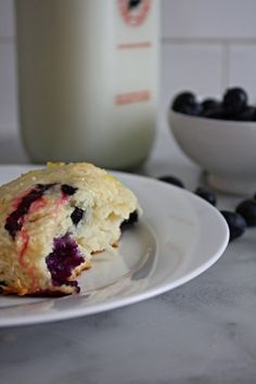 Blueberry Buttermilk Biscuits with Lemon Glaze