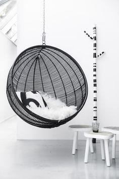 Rattan Hanging Bowl Chair Black   HK Living   © Paulina Arcklin   Est Magazine