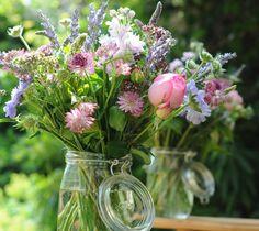 True English country garden wedding flowers in a jar