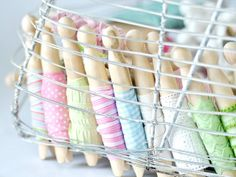 Basket of organized ribbons, via Flickr.
