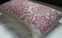 orchid passionflower hand printed on warm gray linen by giardino, $56.00