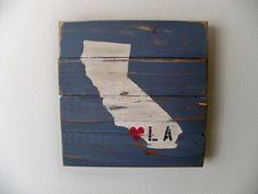 Love Los Angeles California Wood Wall Hanging. $30.00, via Etsy.