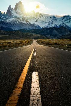 The road to El Chalten in Argentina