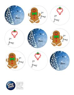 """Cut or punch out with a 2"""" punch and adhere to holiday gifts with #GlueDots! Designed by @Jess Pearl Liu Griffin #crafing #freeprintables #giftwrap #scrapbooking #happyholidays"""