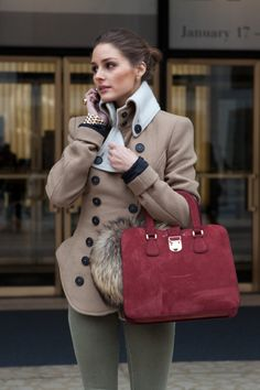 pretty coat Olivia jacket, winter looks, outfit, street styles, olivia palermo, green pants, winter chic, style blog, coat