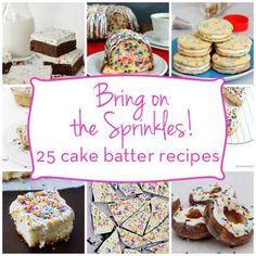 #Featured on #Spoonful #Disney #Funfetti #sprinkles #popcorn #cakebatter #rainbowpopcorn Bring on the Sprinkles: 25 cake batter recipes