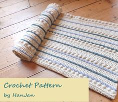 PDF Crochet Pattern: Rustic Cream, Green and Grey Bobble Baby Blanket/Afghan, quick/easy US instructions with HanJan crochet tutorial
