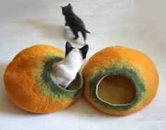 Cat Cave / Bed / House / Vessel - Hand Felted Wool - Yellow Pumpkin Bubble - Crisp Contemporary Design - READY TO SHIP. via Etsy.
