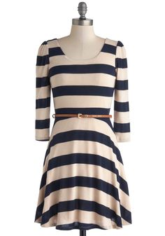 Sunday Fun Day Dress. Your favorite day of the week just got cuter when you donned this striped dress for brunch and a midday movie.  #modcloth